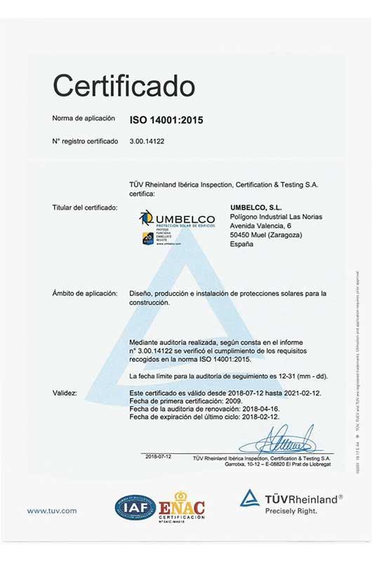 Certificado calidad Umbelco ISO 14001:2015
