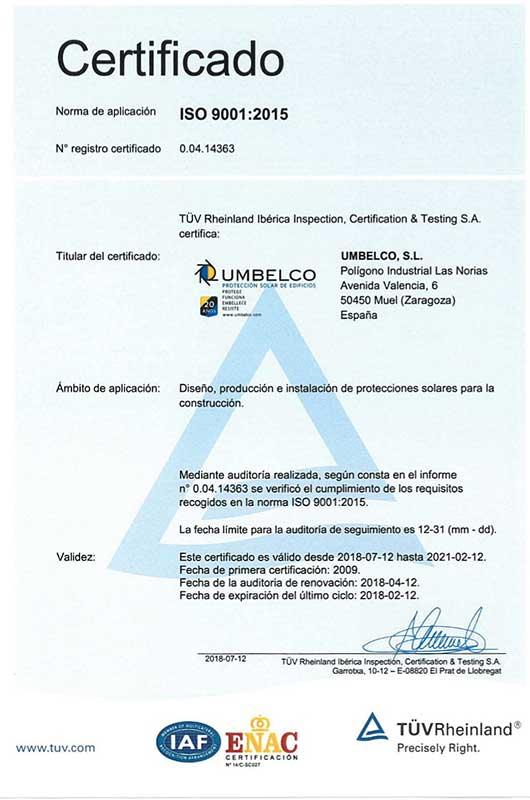 Certificado calidad Umbelco ISO 9001:2015