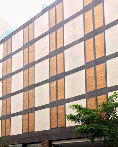 celosias de lamas de madera ventas edificio fachada